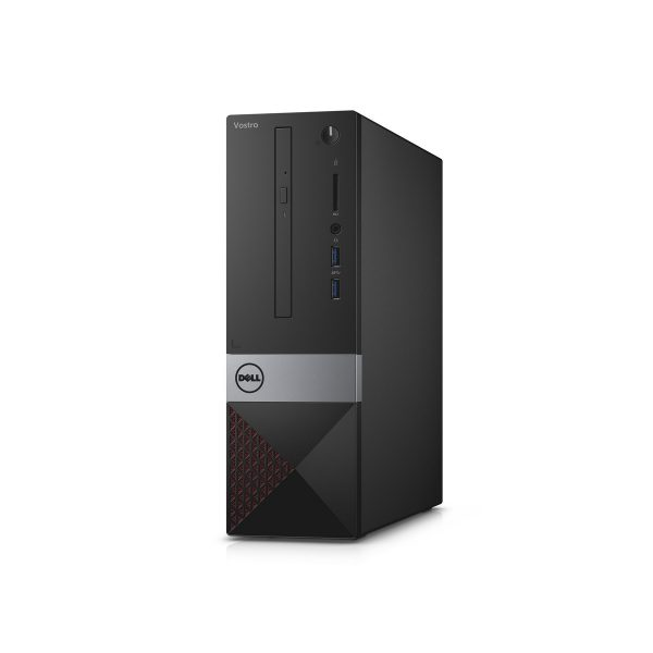 Dell Vostro 3252 Small Form Factor desktop, codename Tahoe Mainstream, with red accent color.  With Intel BSW Braswell SoC processor.