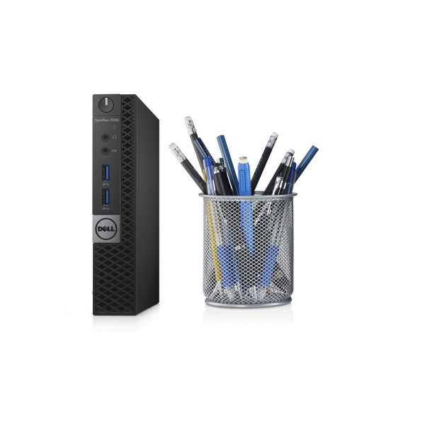 Dell OptiPlex 7040 Micro desktop, codename Swordfish next to a pencil holder to demonstrate the small size in the desktop.