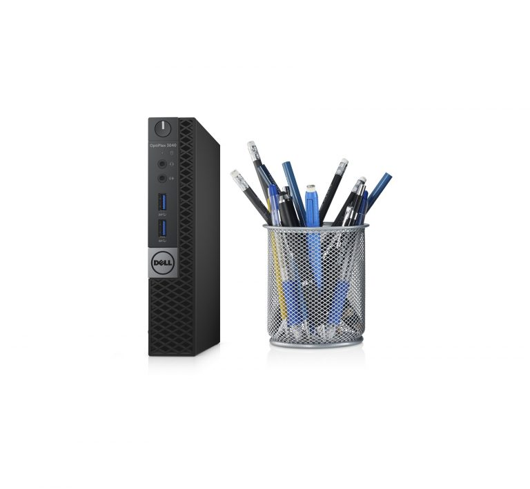 Dell OptiPlex 3040 Micro desktop (Whitefish) next to a pencil holder to demonstrate the small size in the desktop.