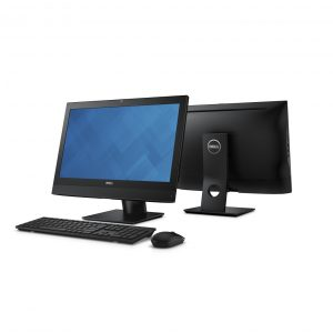 Two Dell OptiPlex 3240 All-in-One Non-Touch (Codename Cod) desktop computers back-to-back, with KM636 wireless keyboard and mouse (Codename Persian). Rear-facing product shows fixed stand.